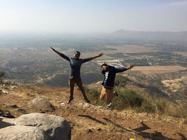 men in jumping Arms Outstretched Landscape Happiness Men Mountain