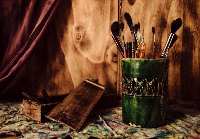Paint Pintura Art Arte ArtWork Bodegón Lapicero Madera Manchas Colours Wood Colores Y Texturas Pinceles Carboncillo