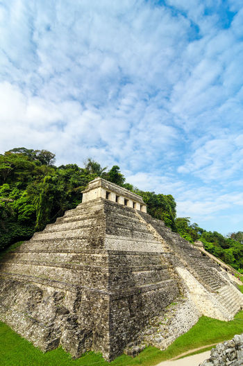 Vertical view of the Temple of Inscriptions at Palenque with a beautiful sky Ancient Archeology Building Chiapas Forest Heritage History Holiday Jungle Maya Mayan Mexico Nature Old Palenque Precolumbian Pyramid Religion Ruin Stairs Stone Temple Travel Unesco View