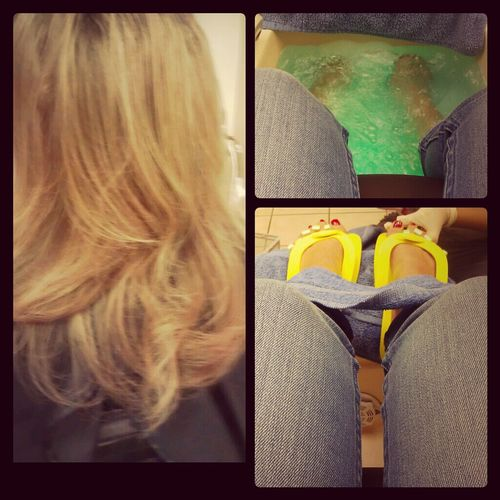 #blonde #salon #hair #toes #girls #nails