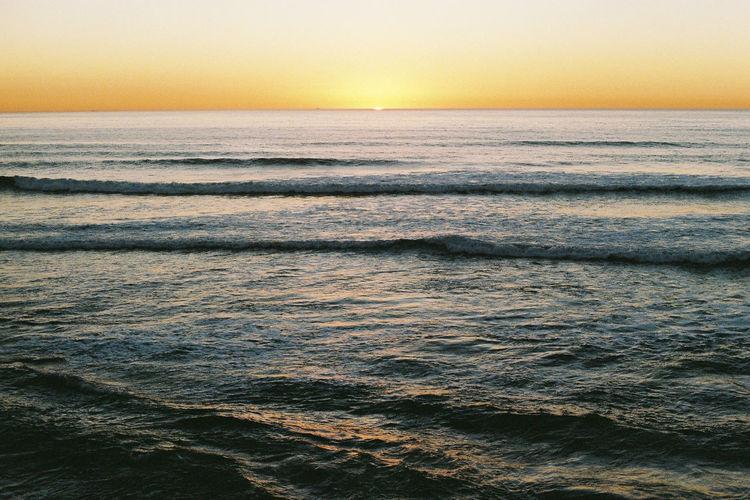 Analogue Photography California California Dreamin California Sunset EyeEmNewHere Film Ishootfilm Pacific WestCoast Blue Filmisnotdead Horizon Over Water Ocean Sky Sunset Water Waves Yellow