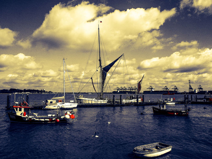 Barge in the harbour Harbour Thames Barge Ship Ships⚓️⛵️🚢 View Sky Clouds Port Harwich England🇬🇧
