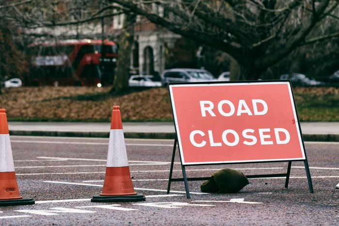 London's Road Closures LONDON❤ London London's Road Roads Sign Signage Signs Cone London_only Londonstreets Outdoors Road Closed Road Closed Sign Road Closure Road Sign Streetphotography Streets Of London Traffic Cone
