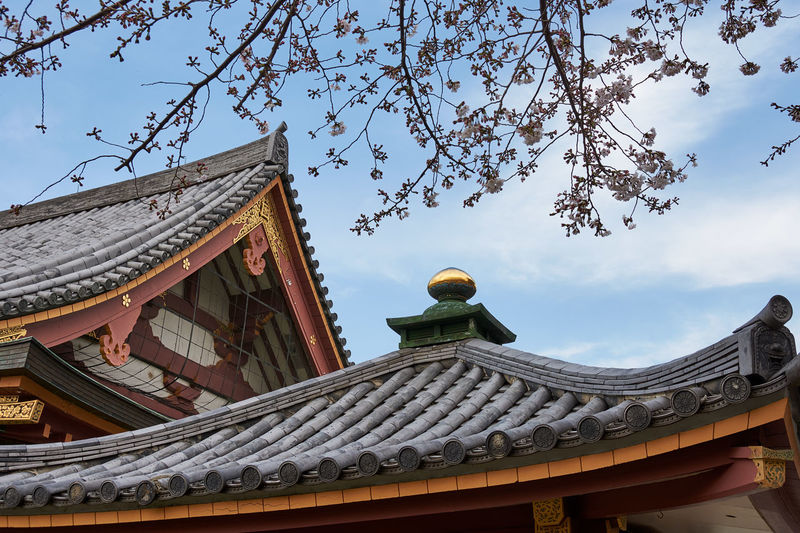 Low angle view of japanese temple against sky