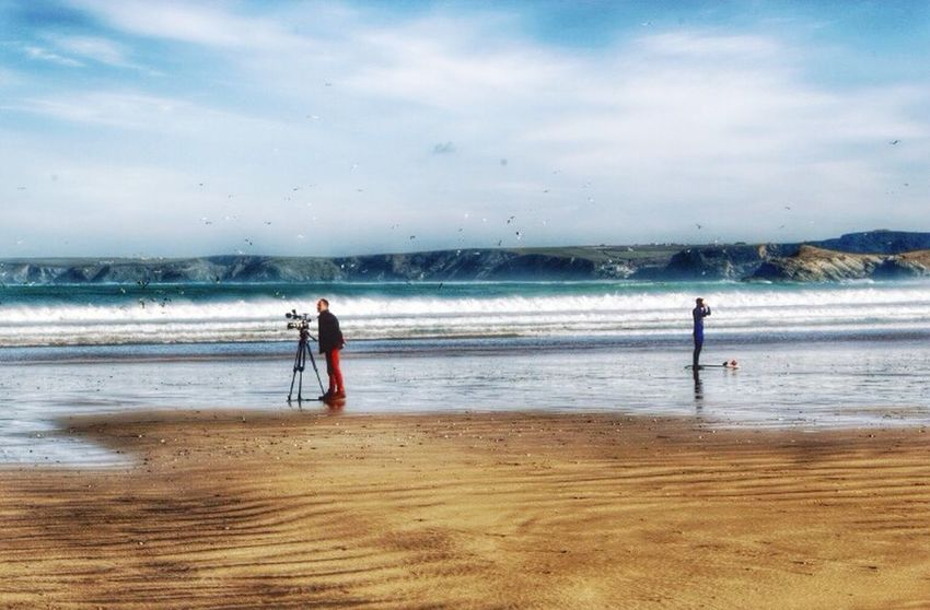 Photographer Taking Photos Surf Surfer Cornwall Blue Sea Enjoying Life People Watching For The Love Of Photography Beach