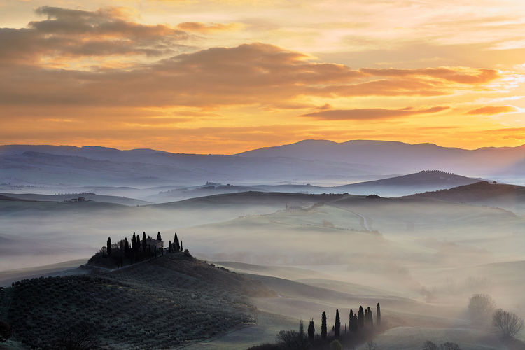Val d'Orcia Hill Panorama Toscana Ancient Ancient Civilization Architecture Beauty In Nature Building Exterior Built Structure Cloud - Sky Day Fog Hill History Landscape Mountain Mountain Range Nature No People Outdoors Scenics Sky Sunset Tranquil Scene Tranquility Travel Destinations Valdorcia First Eyeem Photo