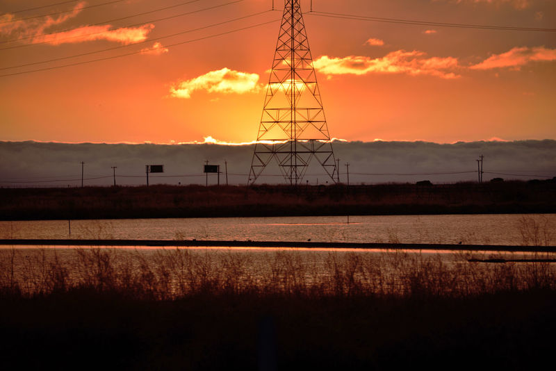 Sunset At Eden Landing 16 Marsh Tidal Wetlands Restored Marshlands Eden Landing Ecological Reserve Scenic Wildlife Refuge Salt Pond Mudflats Native Grasses Sundown Sunset Sun's Glow Sunset_collection Sunset Silhouettes Power Pylon & Lines Telephone Poles & Lines Hwy Signs Fog Marine Layers! Marin Headlands Reflections Reflections In The Water Landscape Landscape_Collection Nature Nature_collection Beauty In Nature Landscape_photography Sky And Clouds Horizon Over Water