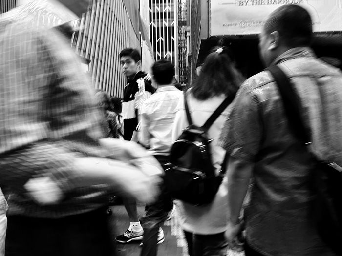 Large Group Of People People Sunlight And Shadow Real People Urban Contrast People Walking  Black And White Hong Kong Black & White Street Photography Light And Shadow IPhoneography Urban Scene Street Scene Motion Blur Urban Lifestyle People Walking  Crowded Emotionless Snap A Stranger
