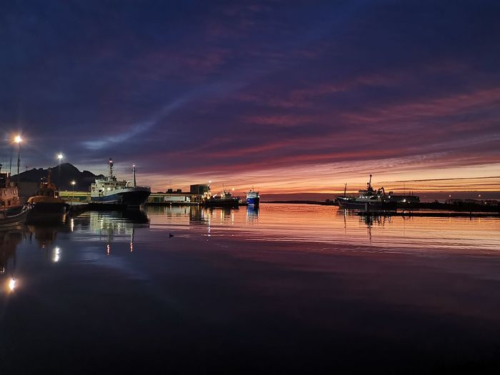 View of marina at sunset