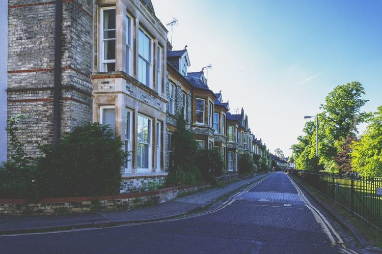 Row of houses in Cambridge, England Architecture Old Nostalgic  Vintage Retro England Cambridge Tree Sky Plant Building Exterior Architecture Built Structure Nature Day Building Clear Sky City Direction Low Angle View Outdoors The Way Forward Road Street Window