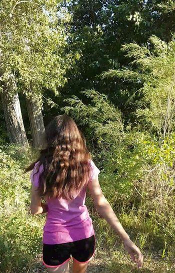 Tree Child Girls Blond Hair Standing Childhood Shadow Rear View Grass