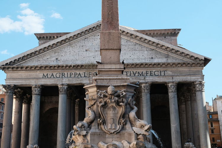 Rome, Italy - August 13, 2017: Fountain with Obelisk and Pantheon in Piazza della Rotonda. The Pantheon is a former Roman temple, now a church Obelisk Pantheon Pantheon Rom Piazza Della Rotonda Rom Roma Rome Rome, Italy Architectural Column Architecture Art Art And Craft Building Exterior Built Structure Culture History International Landmark No People Outdoors Pantheon Rome Rome Italy Sculpture Statue Travel Destination Travel Destinations