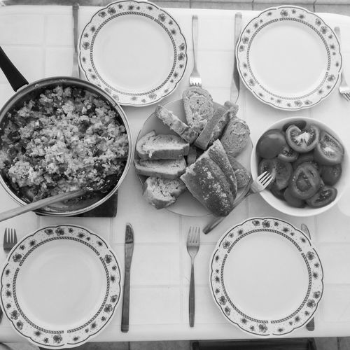 Breakfast Dishes Food And Drink From Above  Blackandwhite Bowl Close-up Day Directly Above Food Food And Drink Foodporn Freshness Healthy Eating High Angle View Indoors  Monochrome No People Plate Plates Ready-to-eat Still Life Table Tray Variation