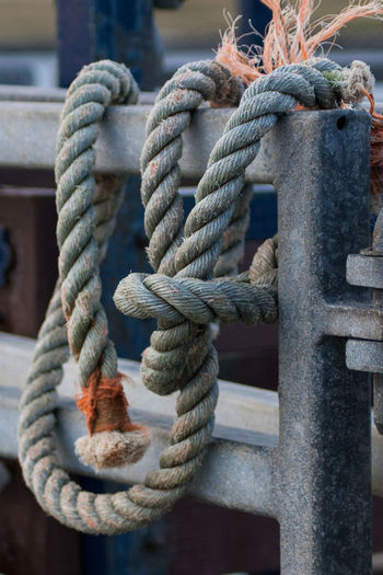 Close-up of rope tied on railing