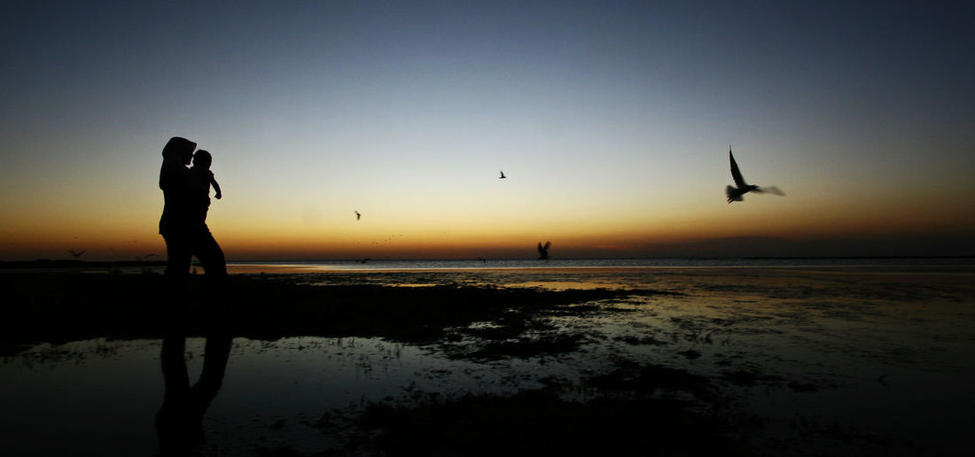 A mother walks with her child near St Kilda beach, Melbourne Beautiful Love Mother Beach Beauty In Nature Birds Child Landscape Real People Scenics Silhouette Sunset Tranquil Scene