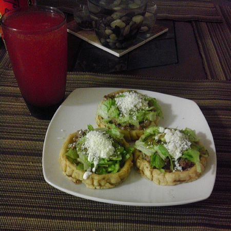 Well my baby did it again :) cooked dinner us :) Mypersonalchef Sopes with a ice cold Corona with Clamato withtheloveofmylove @peaceloveramos