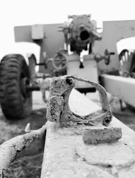 Rear view of canon Lingle Wyoming Low Level View Black And White Focus On Foreground Metal Obsolete Old Tire