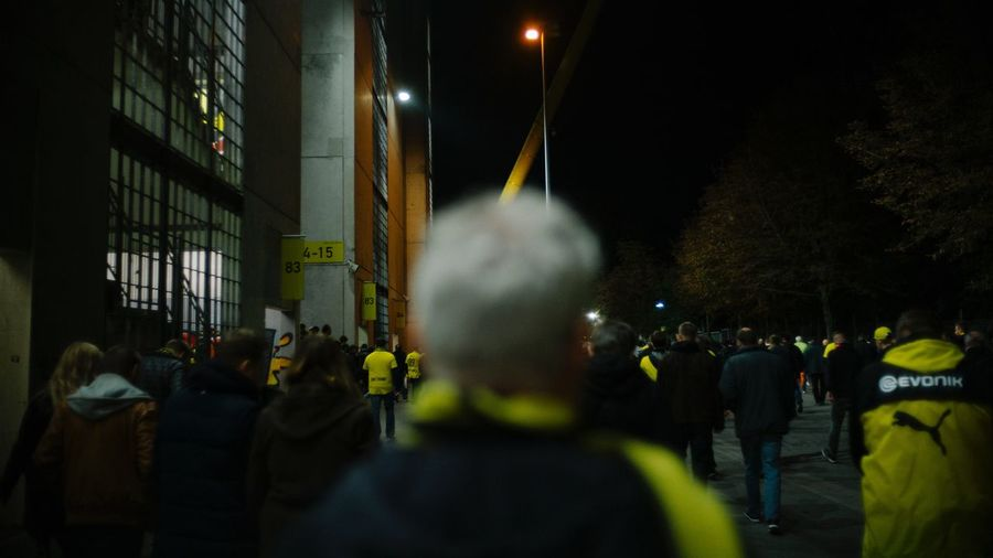 Borussia Dortmund Dortmund EyeEm Selects Night Lights Nightphotography Stadium The Week On EyeEm Architecture Building Exterior Built Structure Crowd Large Group Of People Men Night Real People