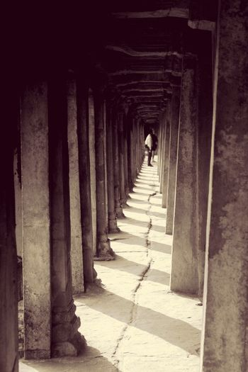 Angkor Wat Architectural Column Architecture Shadow