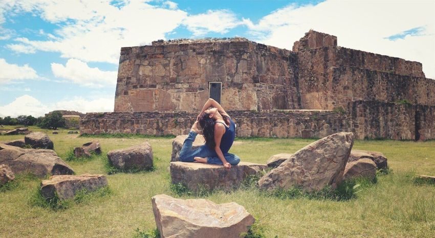 Sky History Architecture Cloud - Sky Nature One Woman Only Old Ruin Women Ancient Civilization Day Beauty One Person Yoga Yoga Pose Mexico Oaxaca Monte Alban