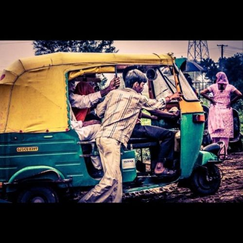 Autorickshaws are a common means of Public Transportation in many countries in the world. Also known as a Three -wheeler, Samosa , Tempo , Tuk -tuk, Trishaw , Autorick , Bajaj , Rick , Tricycle , Mototaxi , Babytaxi or Lapa in popular parlance Photography Yellow @desipitcha
