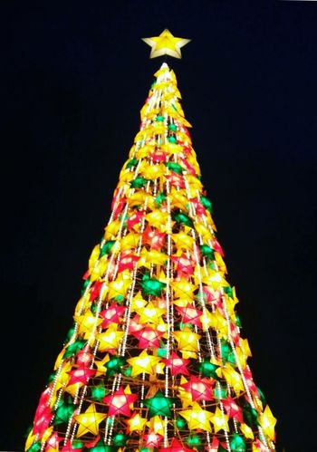 Throwback2016 christmas tree 😂 Christmas Tree Celebration Christmas Multi Colored Tradition Christmas Decoration Black Background Christmas Lights Night No People Holiday - Event Illuminated Representing Close-up Outdoors