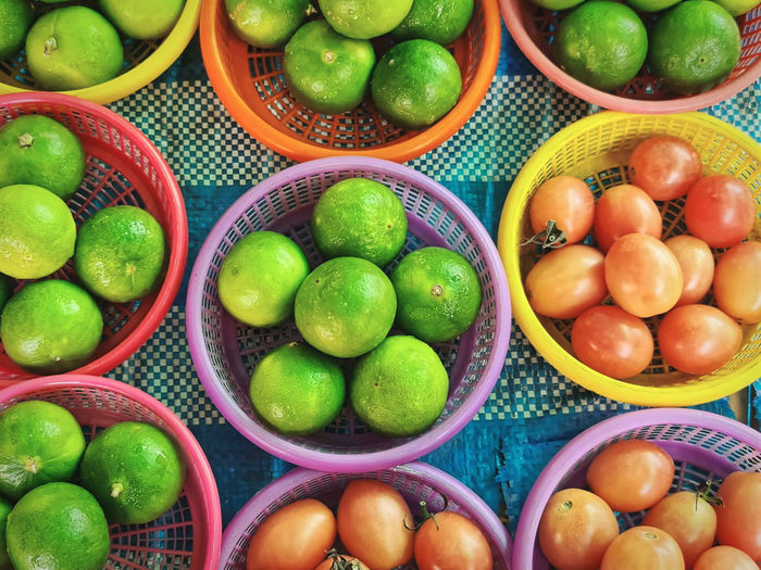 High angle view of fruits for sale in market