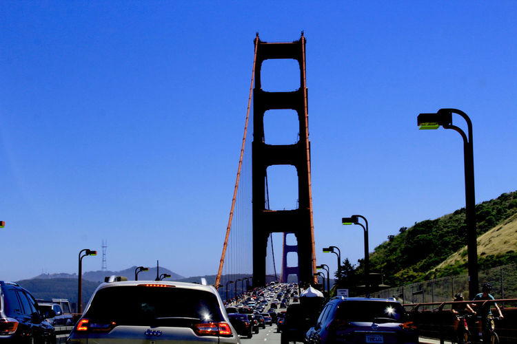 Architecture Blue Car Clear Sky Day Golden Gate Bridge Land Vehicle Landscape Mode Of Transport Nature Outdoors Real People Road San Francisco Sky Traffic Transportation