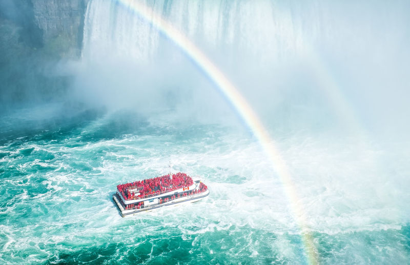 Niagara Falls Niagara Falls Beauty In Nature Crash Day Motion Nature Nautical Vessel No People Outdoors Power In Nature Rainbow Red Sea Sky Speed Splashing Water Waterfront Wave Perspective On Nature