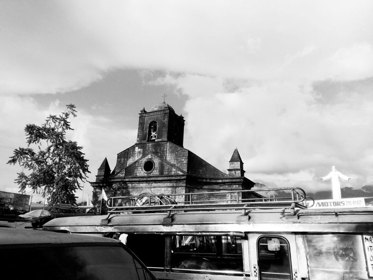 Architecture Built Structure Building Exterior Sky Religion Low Angle View Church Cloud Place Of Worship Travel Destinations Tourism Cloud - Sky Day History Outdoors Famous Place City Life High Section Bell Tower Arch In My Point Of View Black And White Photography Tiwi, Albay Philippines Itsmorefuninthephilippines