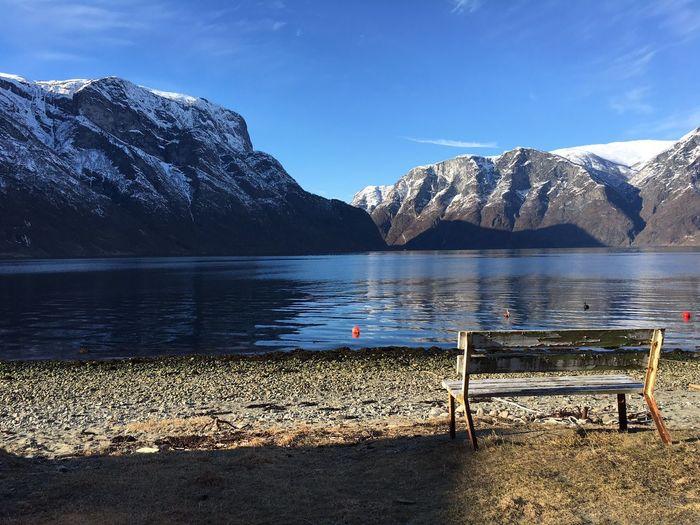 Bench at lakeshore