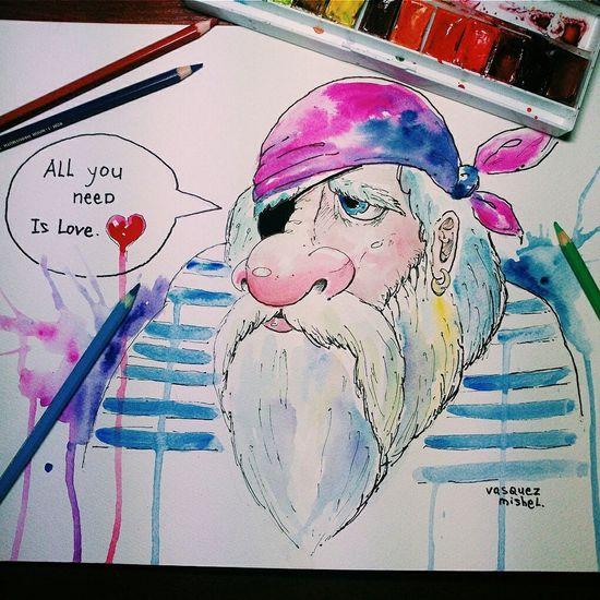 Art Drawing  , Illustrations, Yo_ho_ho, Watercolor, Sketchart, Sadness_pirate, Creativity, Vasquez_mishel, Oldest_sailor, Acrylic Painting
