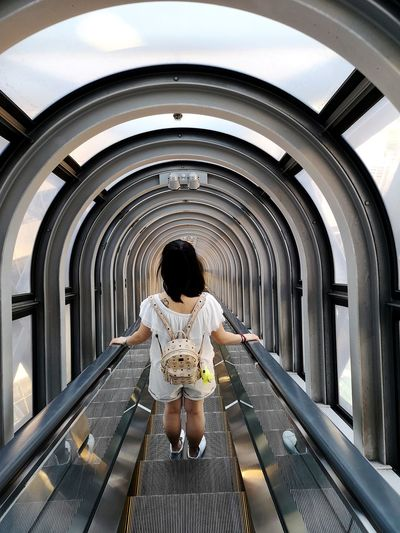 Osaka,Japan City Sitting Rear View Arch Full Length Architecture Escalator Steps
