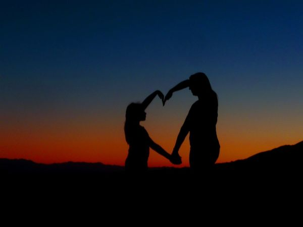 A Mother and Daughter enjoying the desert evening. Affectionate Carefree Clear Sky Heart Heartbeat Moments Mother Daughter  Nature Outdoors People Silhouette Standing Sunset Sunset Silhouettes Togetherness