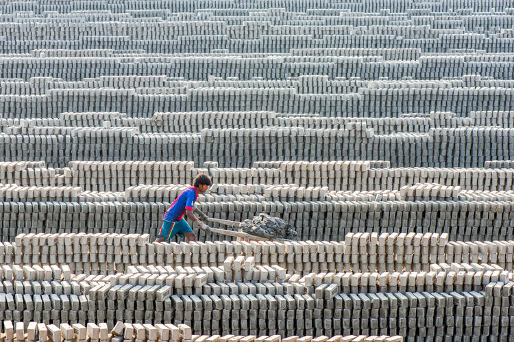 Worker working at brick factory