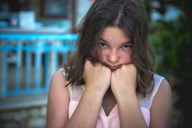 Close-up portrait of sad girl