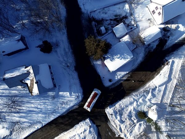Shadow People Outdoors Day Built Structure Rural Scene Village Québecois D'antan Cold Temperature Building Exterior Aerial View Frozen Winter Snow Blue Architecture Spring 2017 Tree Sunlight