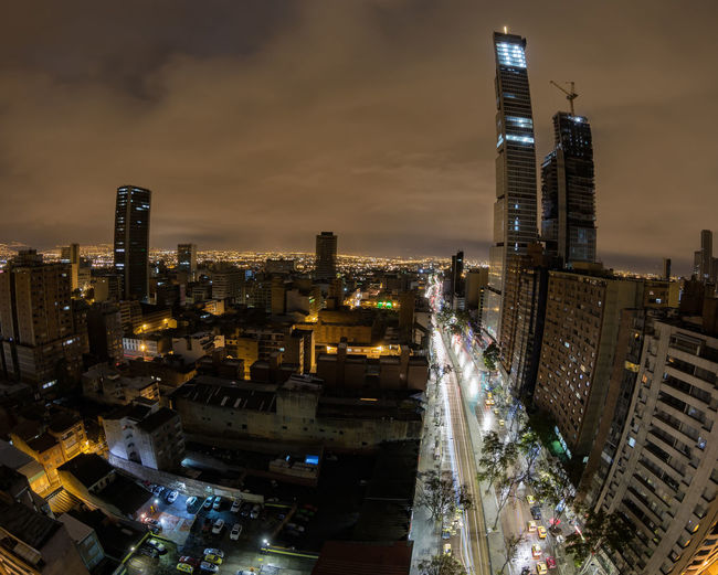View of downtown Bogota, Colombia with a fisheye lens at night. Bogotá Business Center Colombia Construction Destination Unknown Downtown Financial District  Latin Latin America Night Photography Skyline Travel Bd Bacata Candelaria Capital Destination District Fisheye Long Exposure Night Skyscraper South America Tourism Urban