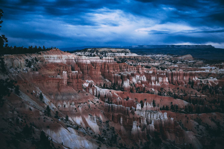 Aerial view of rock formations against cloudy sky