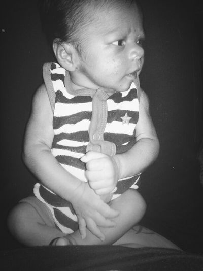 Model Black & White My Baby Boy 3 Weeks Old Charmer SO HANDSOME Picture Perfect