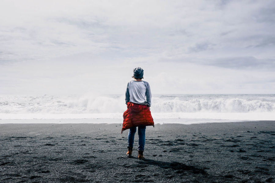 Iceland Travel Travel Photography Travelling Beach Black Sand Black Sand Beach Blacksandbeach Cloud - Sky Cold Temperature Destination Land Leisure Activity Lifestyles Motion Nature One Person Outdoors Reynisfjara Scenics - Nature Sea Sky Travel Destinations Warm Clothing Water EyeEmNewHere