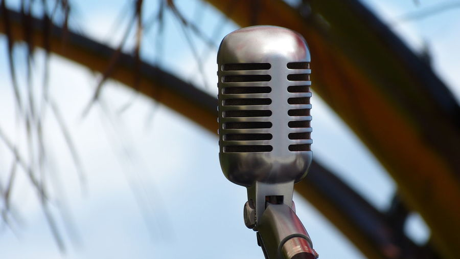 Close-Up Of Microphone Against Tree