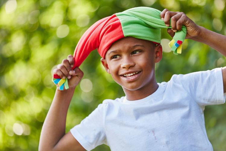 Boy wearing headwear