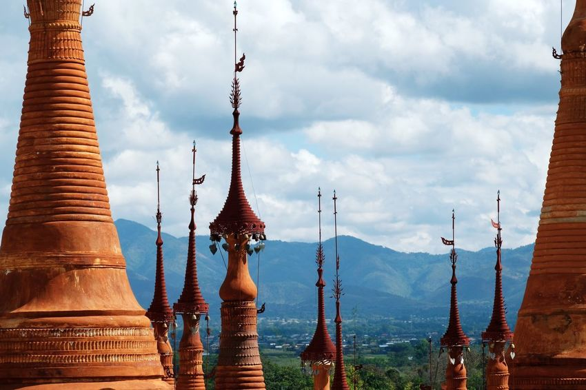 Sky Cloud - Sky No People Outdoors Place Of Worship Religion Spirituality Travel Destinations Day Building Exterior Architecture Water Tower Pagoda Temple Buddhism Buddhist Temple Landscape Mountain Travel EyeEm Best Shots Check This Out Popular Photos in Inn Dein , Myanmar MISSIONS: The Great Outdoors - 2017 EyeEm Awards The Architect - 2017 EyeEm Awards