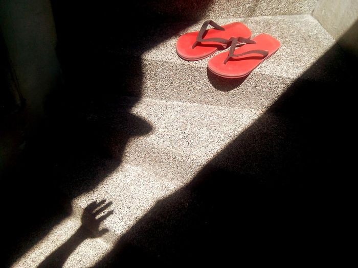 Slippers Red Red Slipper Hand Take It Sillouette