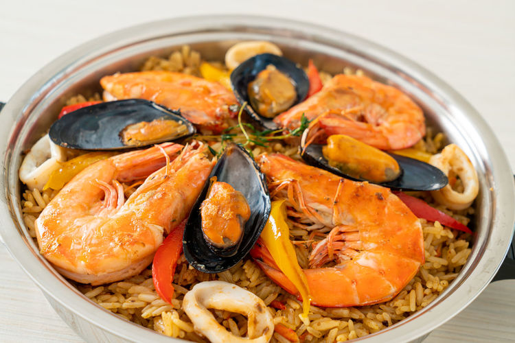 High angle view of seafood in bowl on table