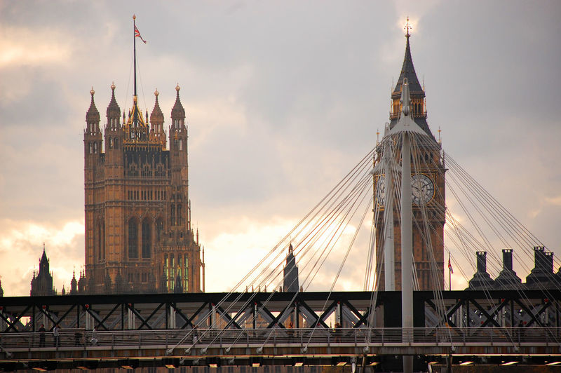 View Of Steel Cables By Bridge With Big Ben And Parliament House In Background