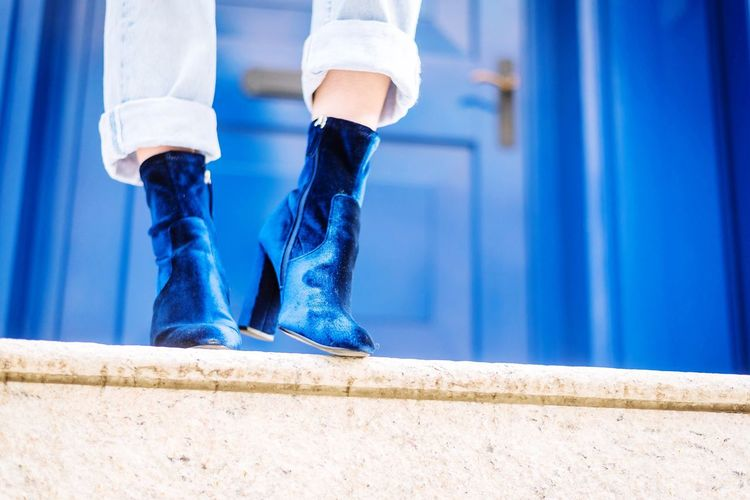 Low Section Human Leg Human Body Part Shoe One Person Real People Human Foot Standing Close-up Day Outdoors Leg Human Hand Boots Fashion Fashion Photography Fashionable Photo Photography Photooftheday Photographer Velvet Blue Winter NYC