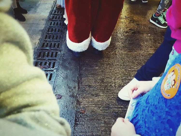 This Is Christmas day 11. Father Christmas Feet Only Not The Centre Of Christmas Outside Low Section