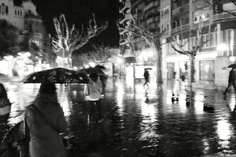 Reflection of illuminated city at night
